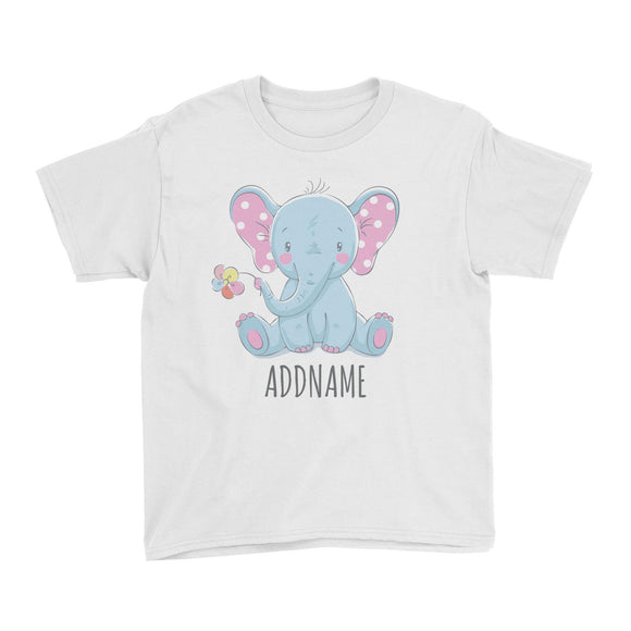 Sitting Boy Elephant with Flower White Kid's T-Shirt Personalizable Designs Cute Sweet Animal For Boys Newborn HG