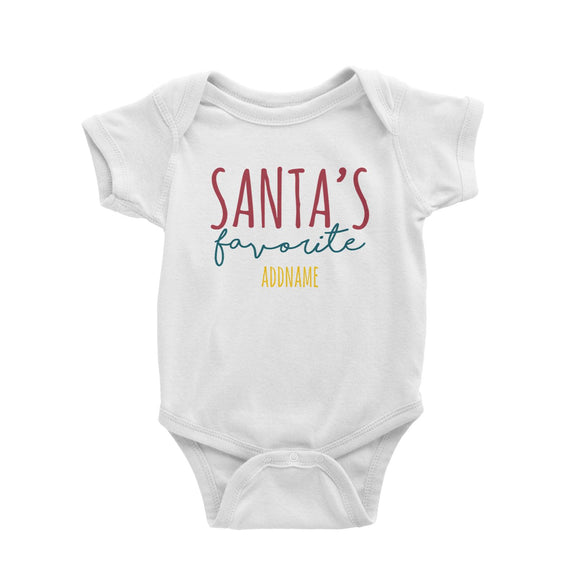 Santa's Favourite Lettering Addname Baby Romper Christmas Matching Family Personalizable Designs