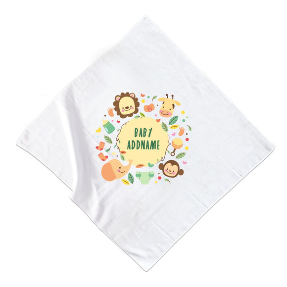 Baby Safari Animals with Addname Muslin Square
