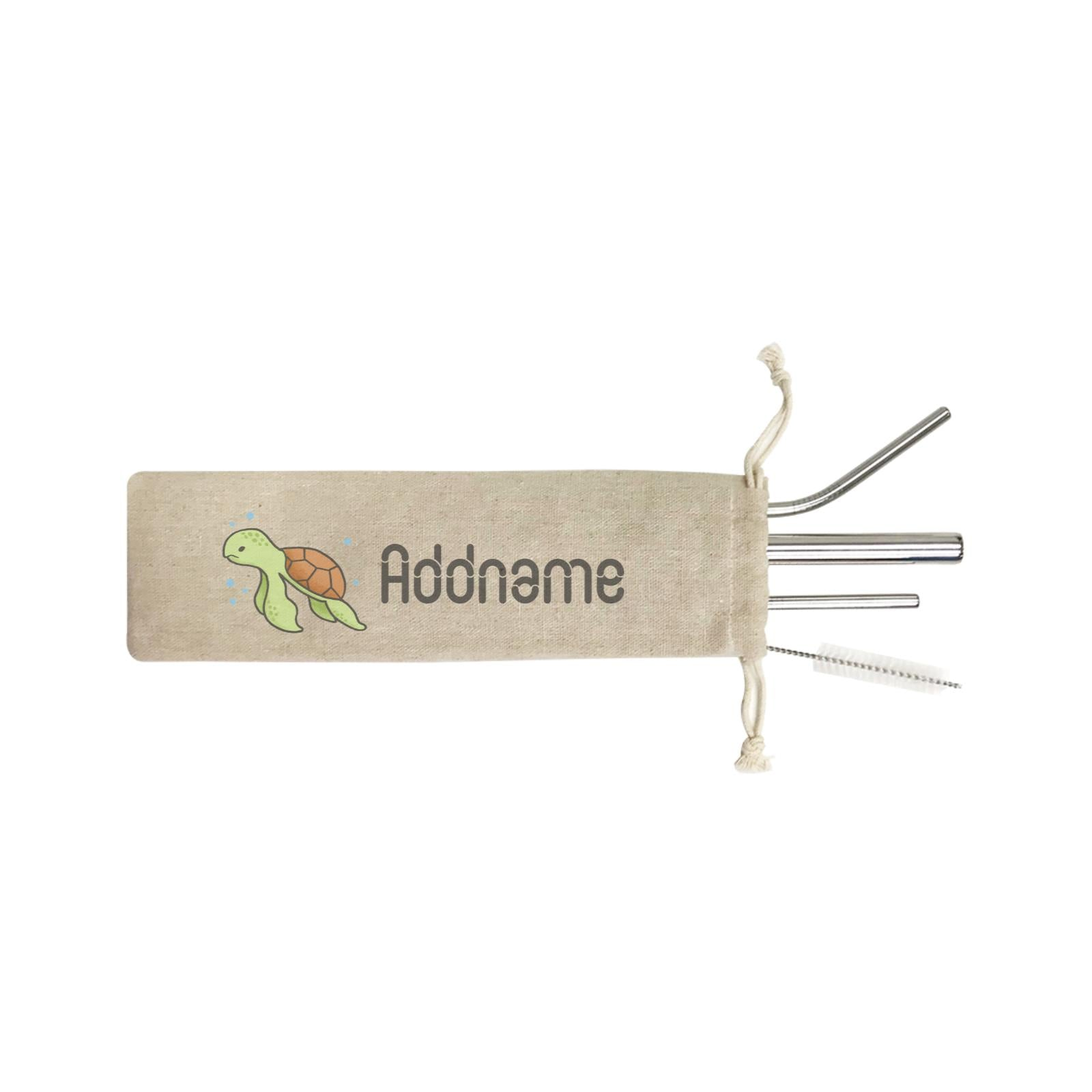 Cute Hand Drawn Style Turtle Addname ST SZP 4-In-1 Stainless Steel Straw Set in Satchel