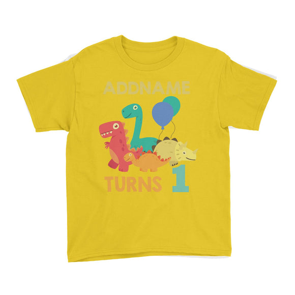 Cute Dinosaur Birthday Theme Personalizable with Name and Date Kid's T-Shirt