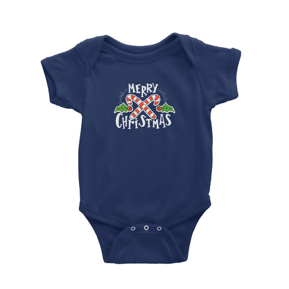 Merry Chrismas with Holly and Candy Cane Greeting Baby Romper Christmas Matching Family Lettering