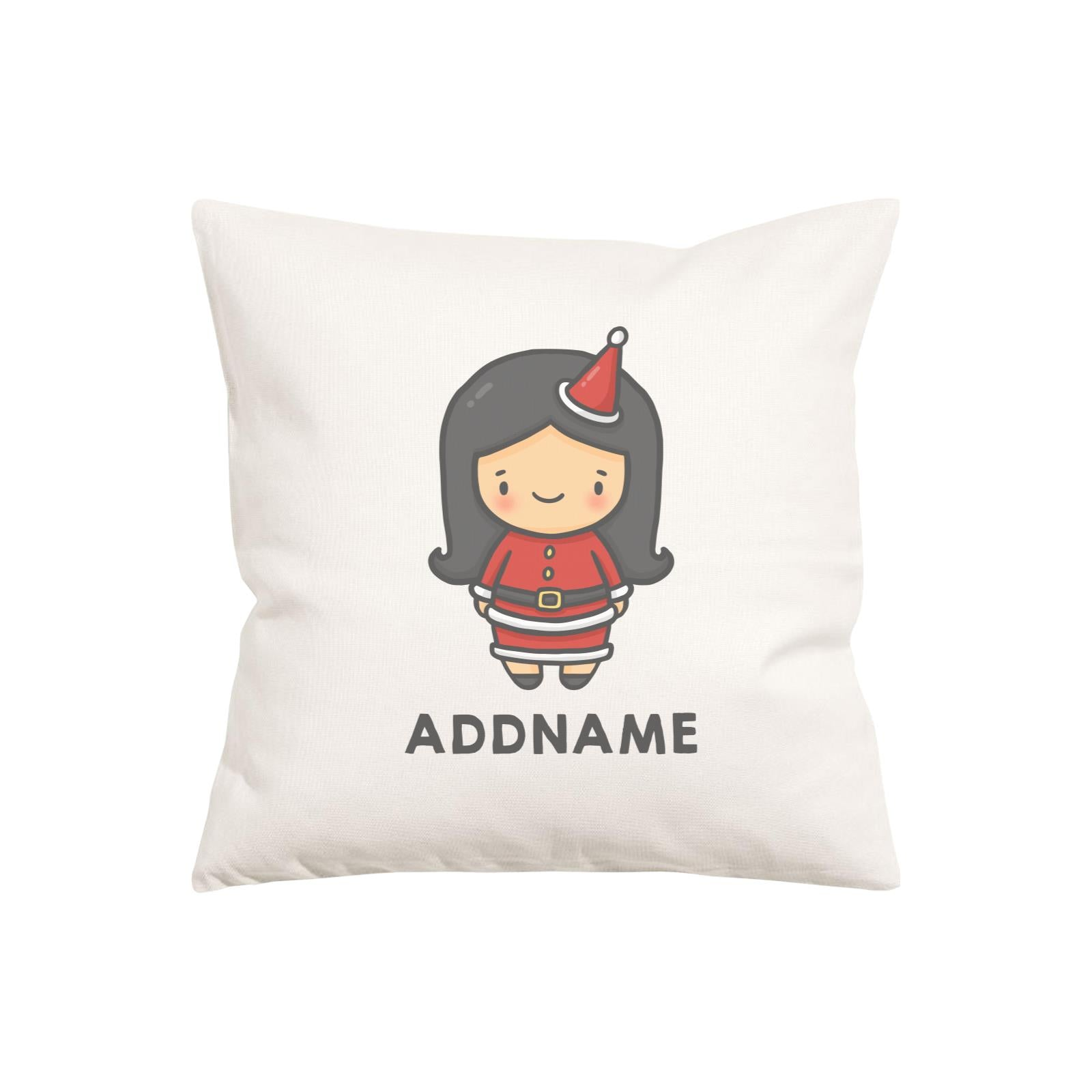Xmas Cute Girl Addname Pillow Cushion
