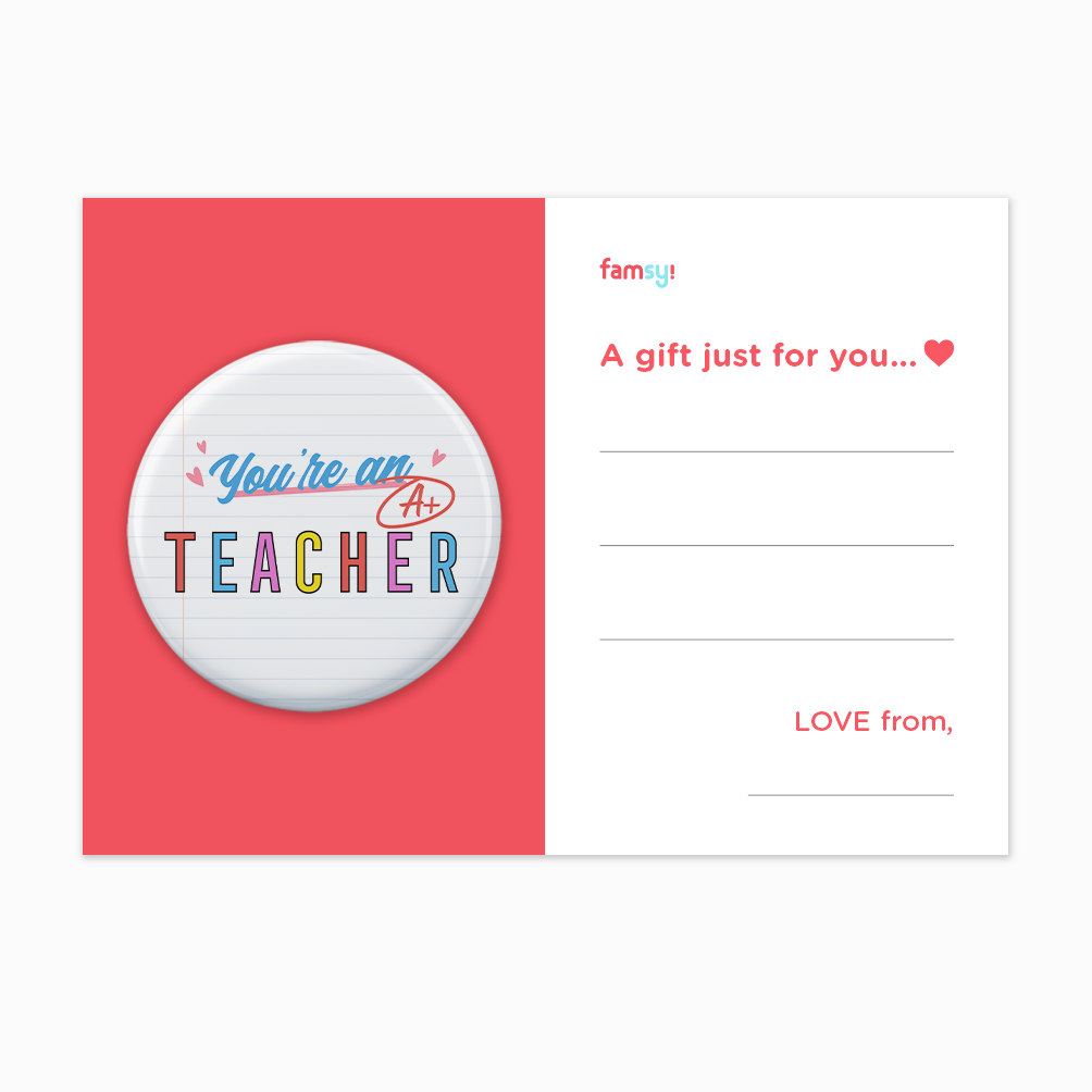 Teacher Appreciation Quote Series - You're An A+ Teacher Button Badge with Back Pin (58mm)