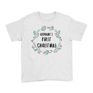 Holly Wreath Addname's First Christmas Kid's T-Shirt  Personalizable Designs