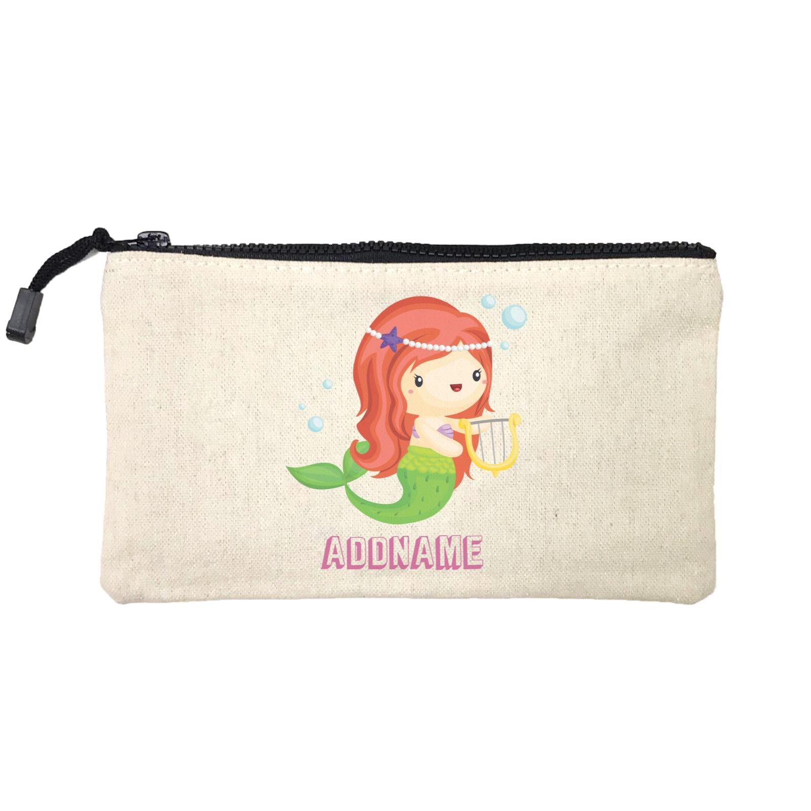 Birthday Mermaid Red Long Hair Mermaid Playing Harp Addname Mini Accessories Stationery Pouch