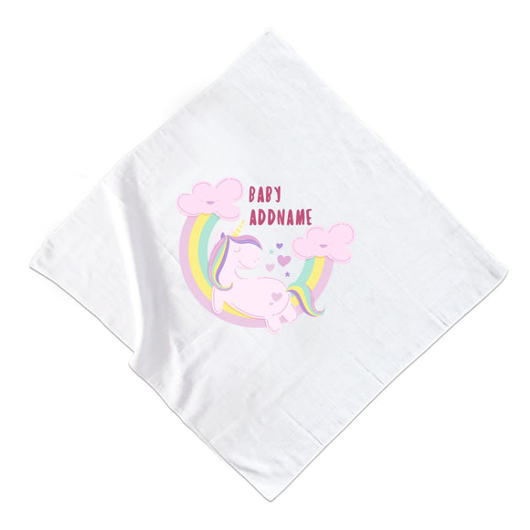 Pink Unicorn On Rainbow with Baby Addname Muslin Square