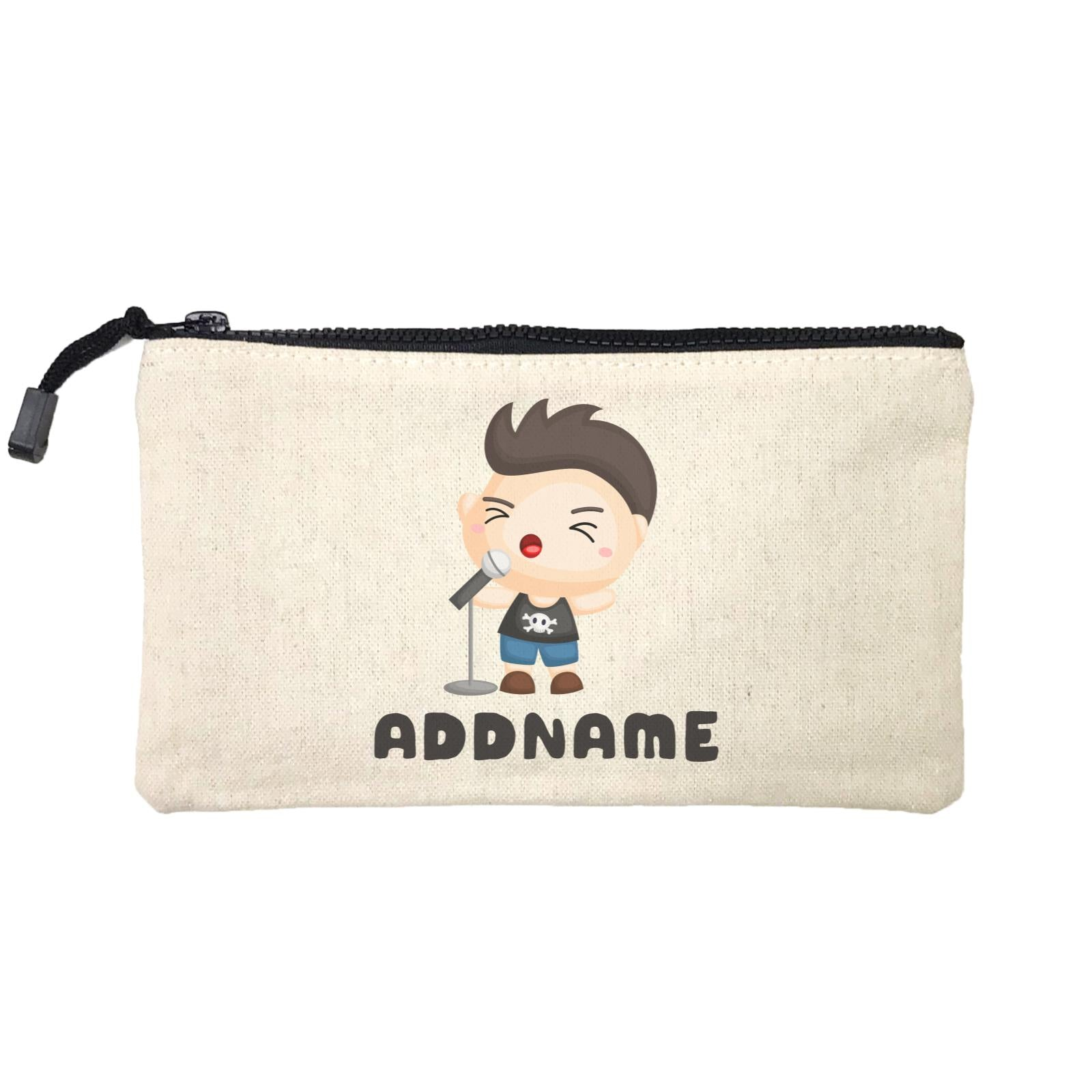 Birthday Music Band Boy Singing Mic Addname Mini Accessories Stationery Pouch