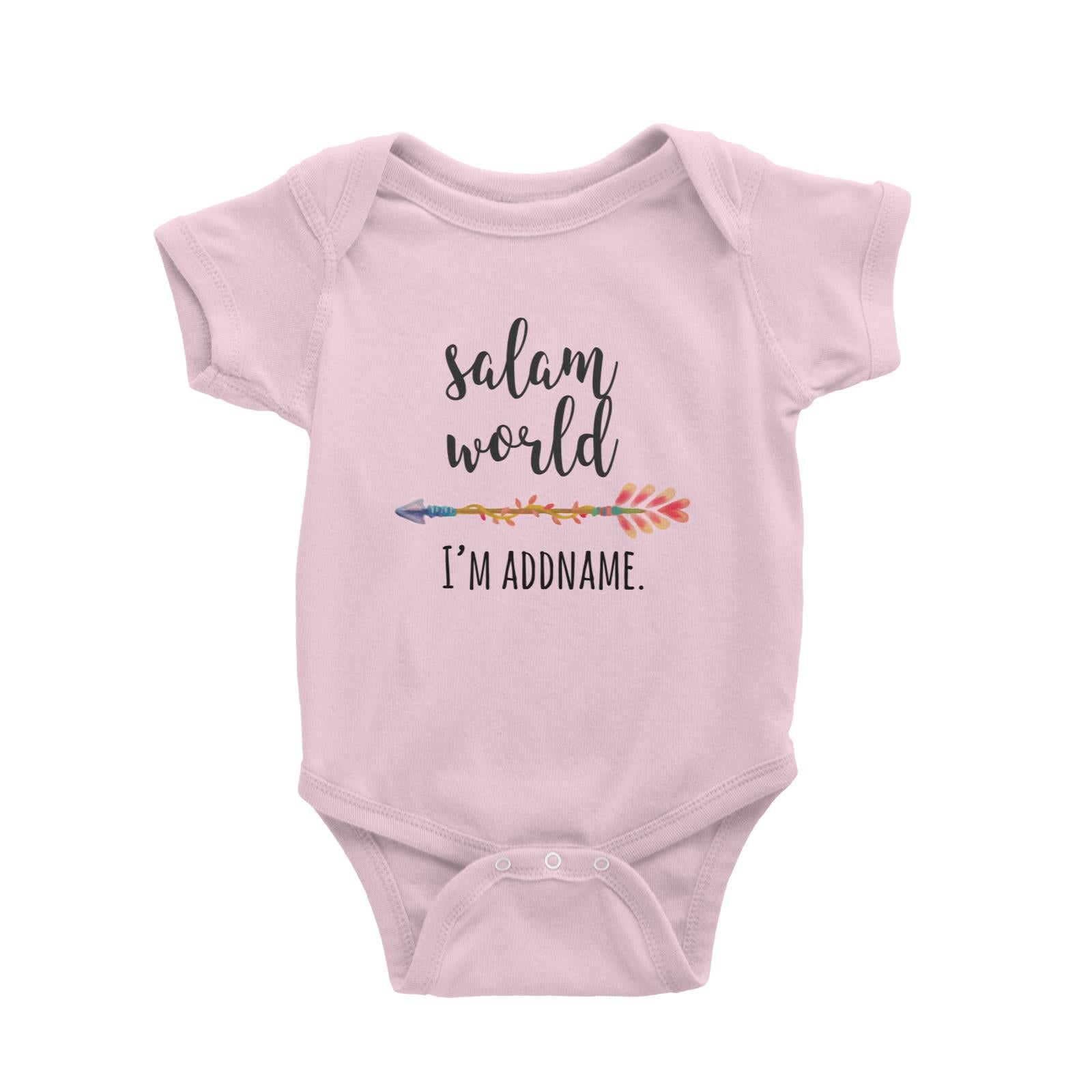Salam World I'm Addname with Arrow Baby Romper Personalizable Designs Basic Newborn