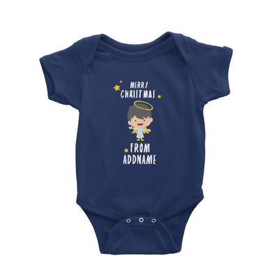 Cute Boy Angel Merry Christmas Addname Baby Romper  Personalizable Designs Matching Family