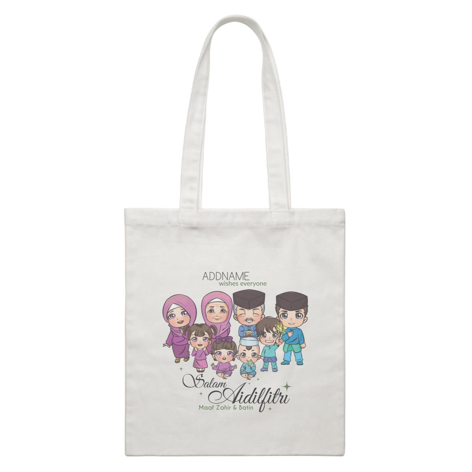 Raya Chibi Big Family Addname Wishes Everyone Salam Aidilfitri Maaf Zahir & Batin White Canvas Bag