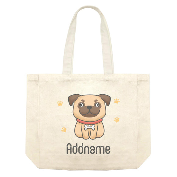 Cute Hand Drawn Style Pug Addname Shopping Bag