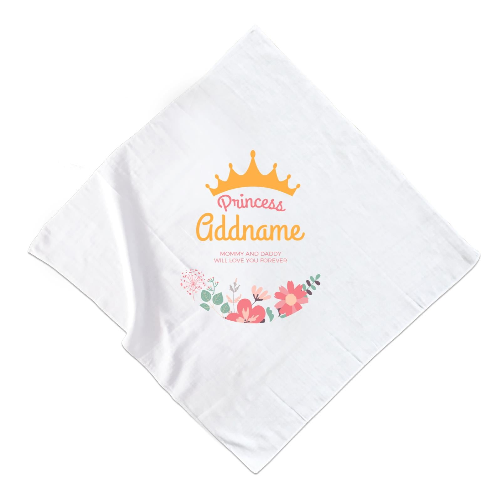 Princess with Tiara and Flowers 2 Personalizable with Name and Text Muslin Square