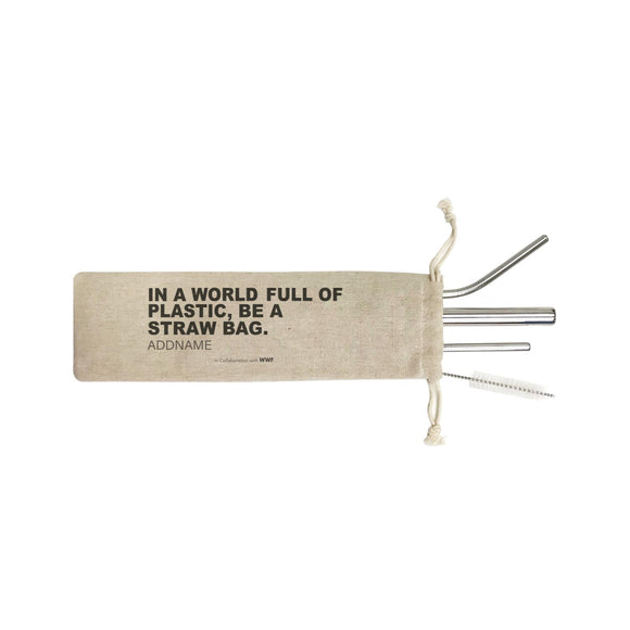 In a World Full Of Plastic Be A Straw Bag Addname SB 4-In-1 Stainless Steel Straw Set in Satchel