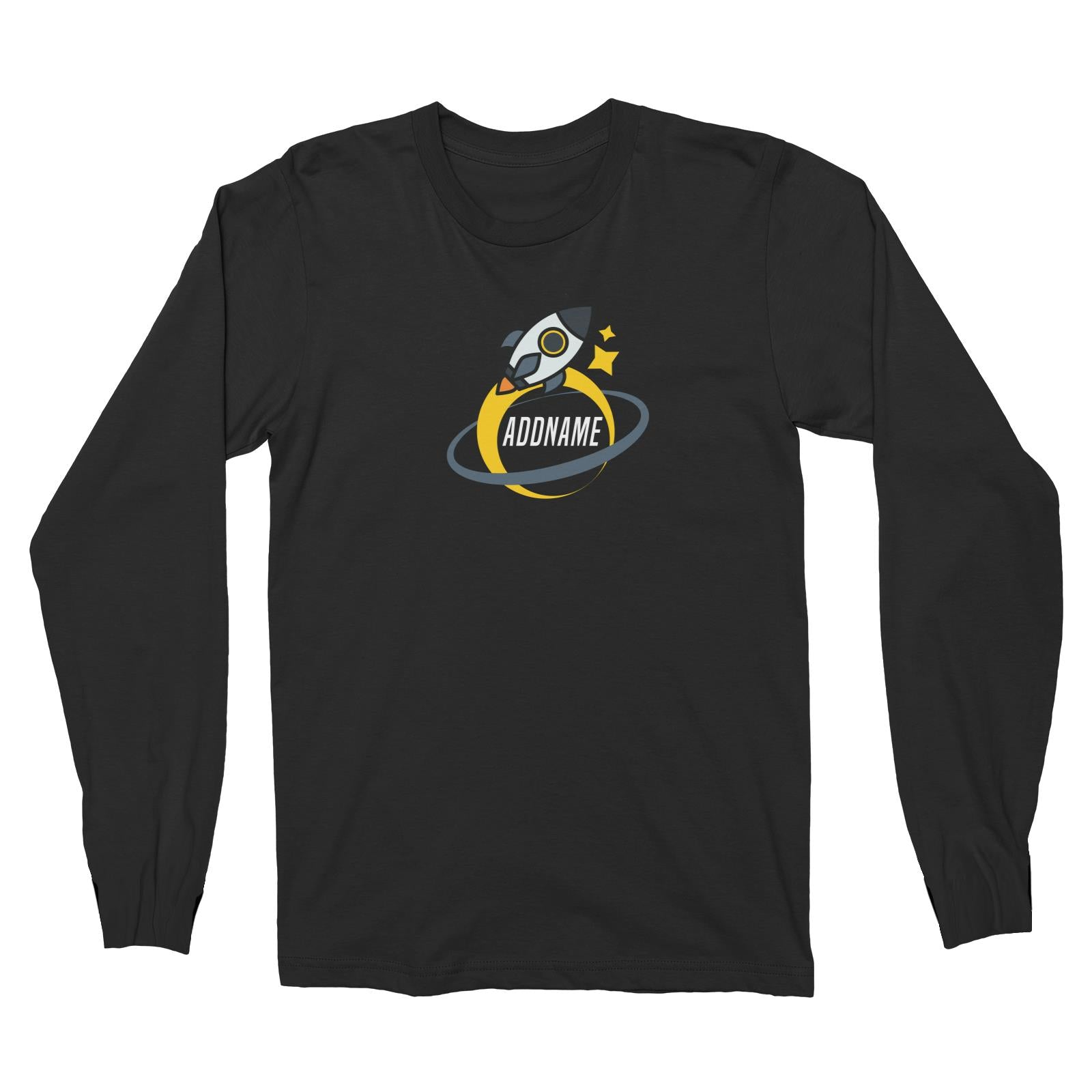 Birthday Rocket To Galaxy Moon And Star Addname Long Sleeve Unisex T-Shirt