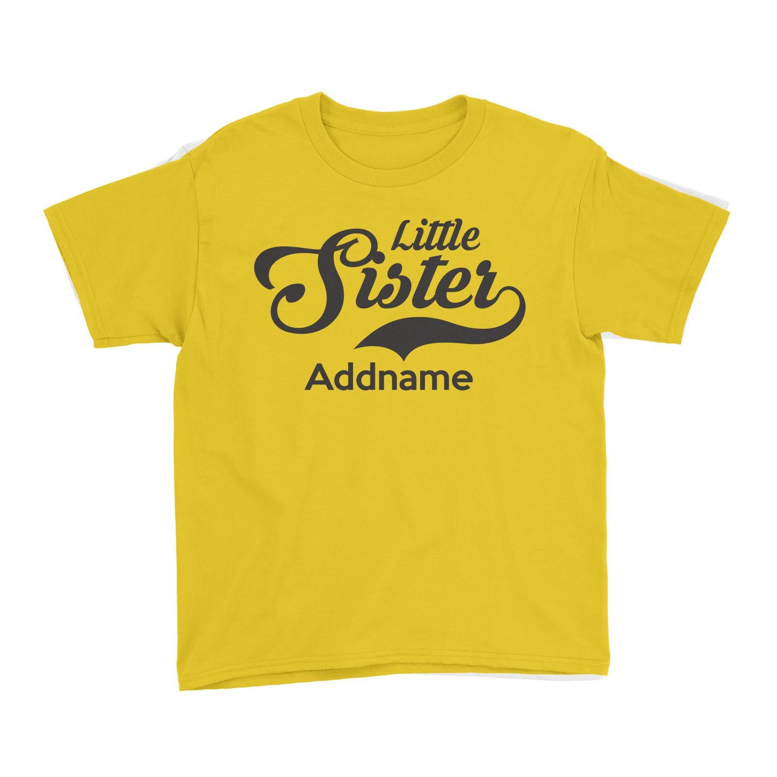 Retro Little Sister Addname Kid's T-Shirt  Matching Family Personalizable Designs
