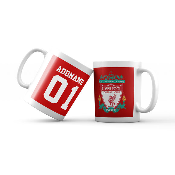 Liverpool Football Fan Mug Personalizable with Name and Number