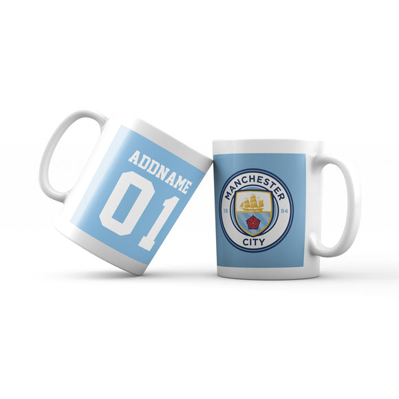Manchester City Football Fan Mug Personalizable with Name and Number