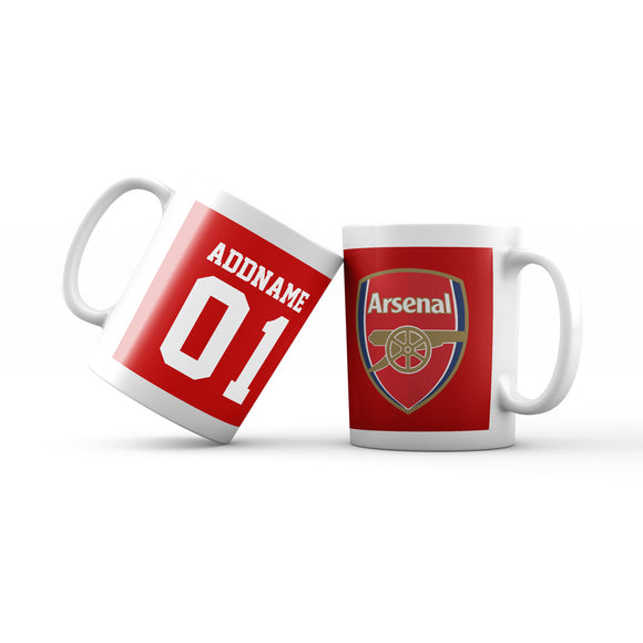 Arsenal Football Fan Mug Personalizable with Name and Number