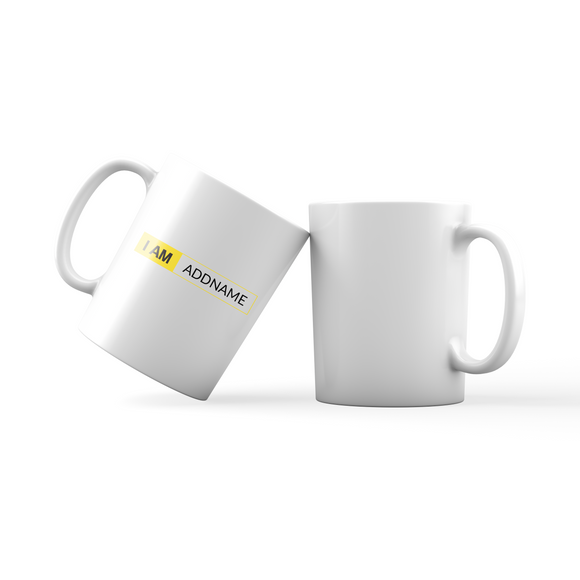 I AM Addname in Yellow Box Family Mug