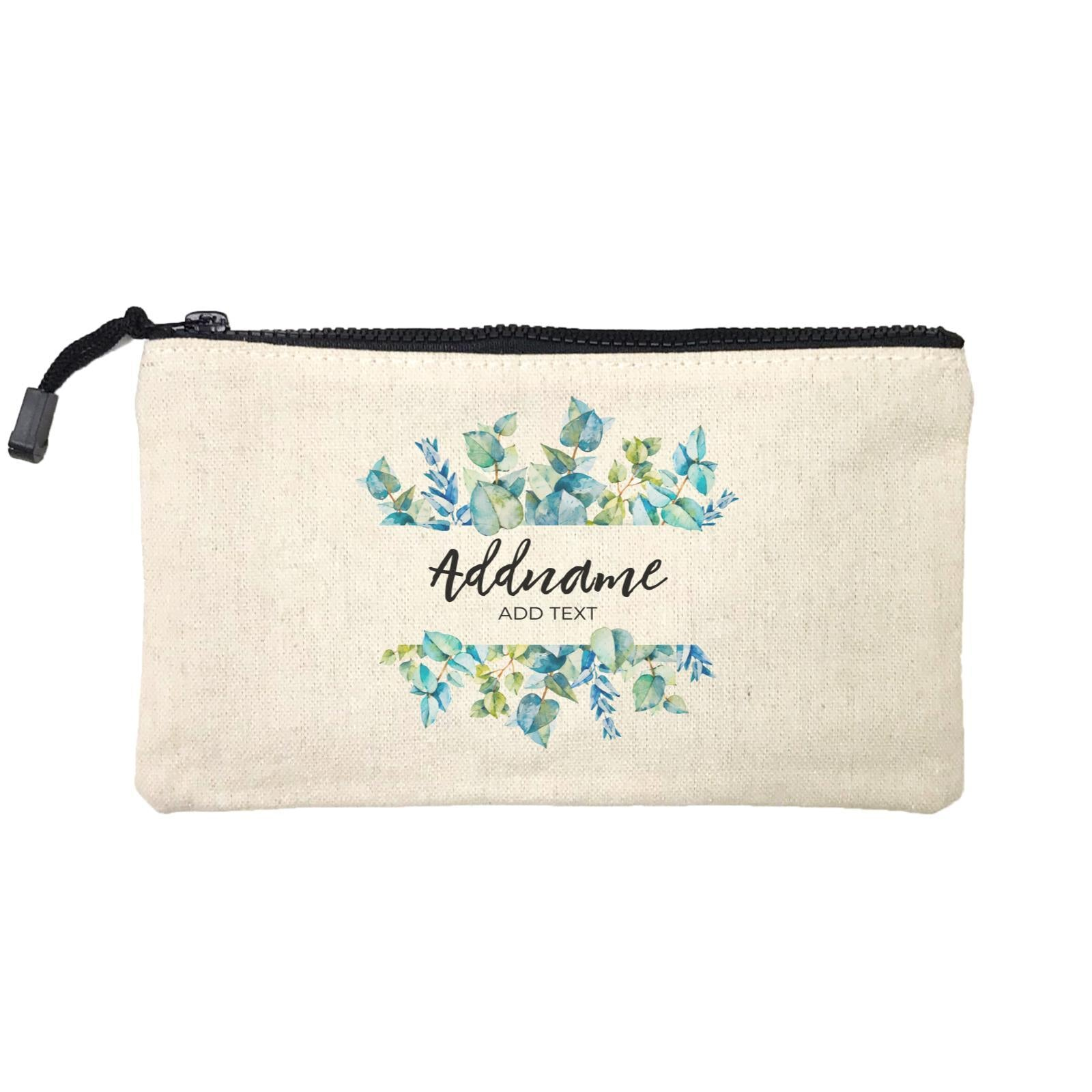 Add Your Own Text Teacher Blue Leaves Box Addname And Add Text Mini Accessories Stationery Pouch