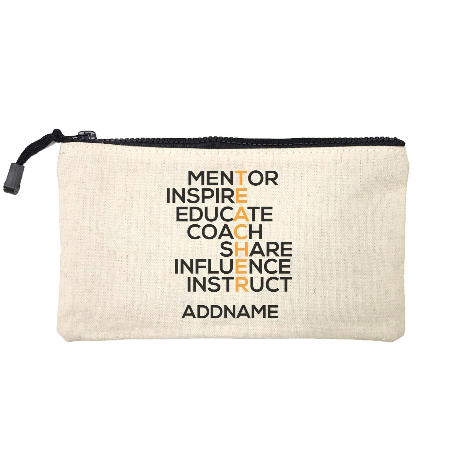 Teacher Quotes 2 Teacher Share Influence Instruct Addname Mini Accessories Stationery Pouch