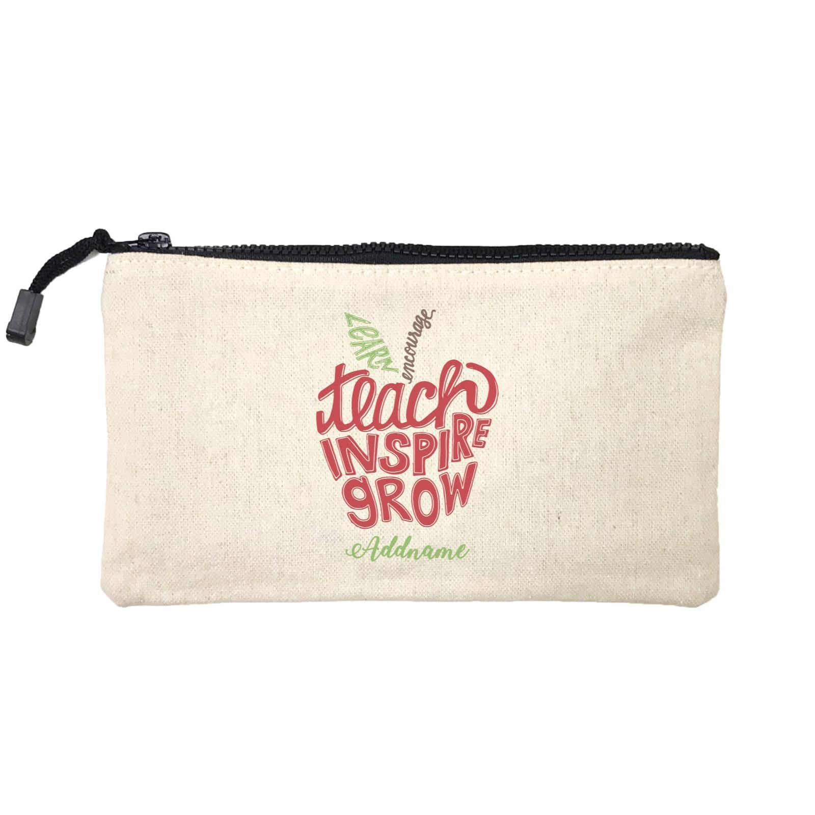 Teacher Apple Learn Encourage Teacher Inspire Grow Addname Mini Accessories Stationery Pouch