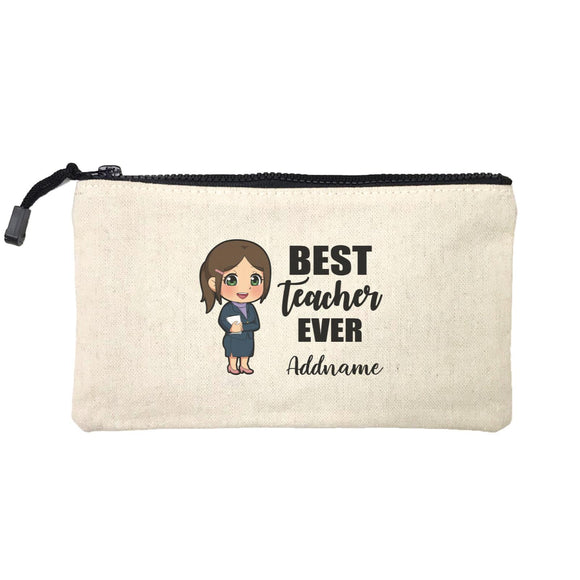 Chibi Teachers Chinese Woman Best Teacher Ever Addname Mini Accessories Stationery Pouch