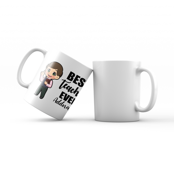 Chibi Teachers Chinese Man Best Teacher Ever Addname Mug