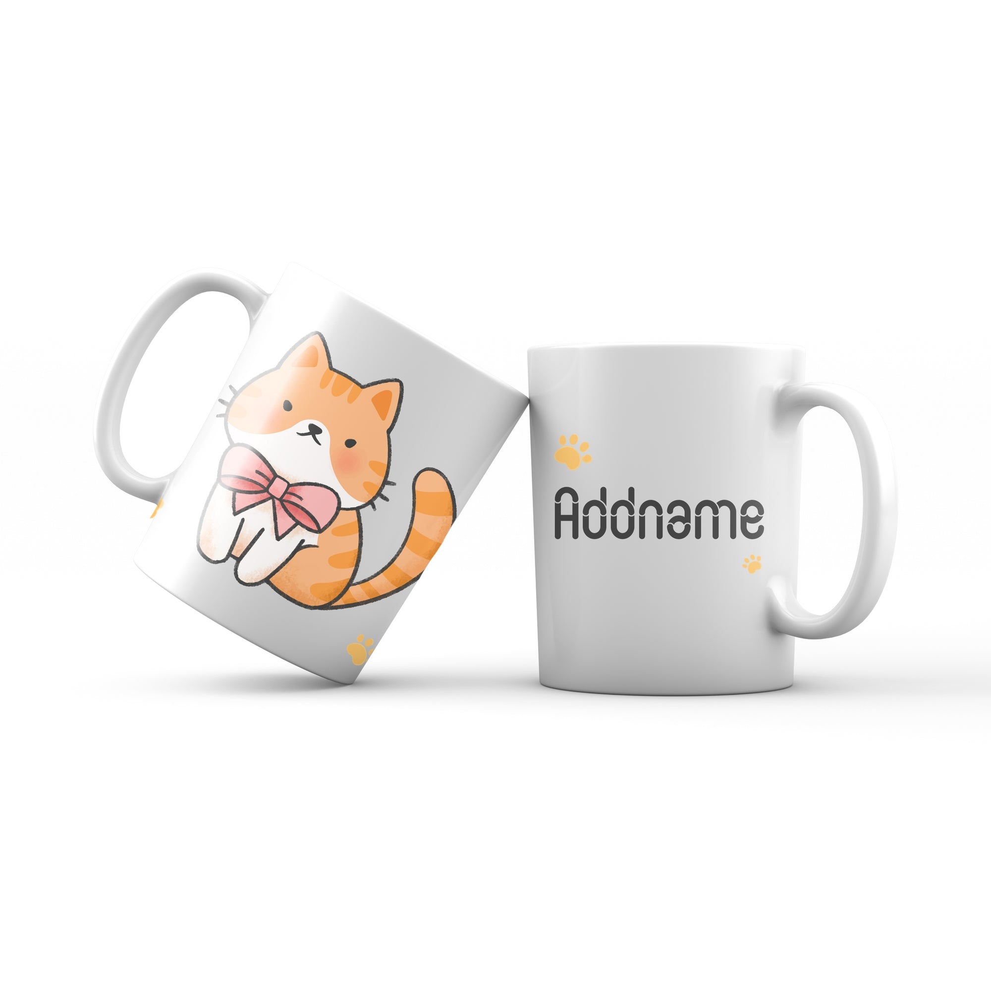 Cute Hand drawn Animals Cats Brown Cat With Ribbon Addname Mug
