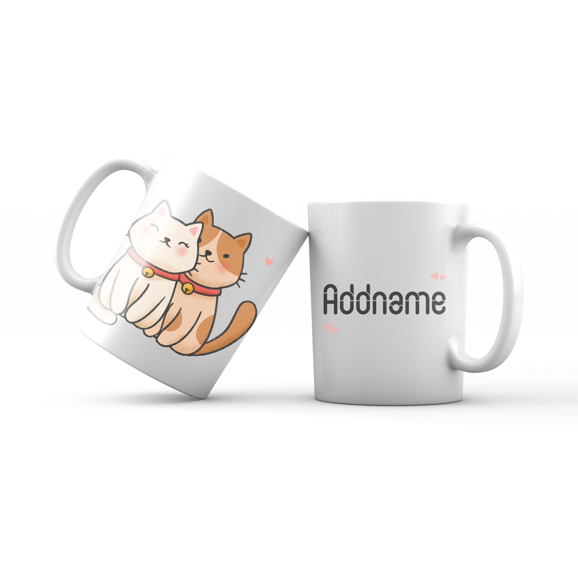 Cute Hand drawn Animals Cats Couple Cat Addname Mug