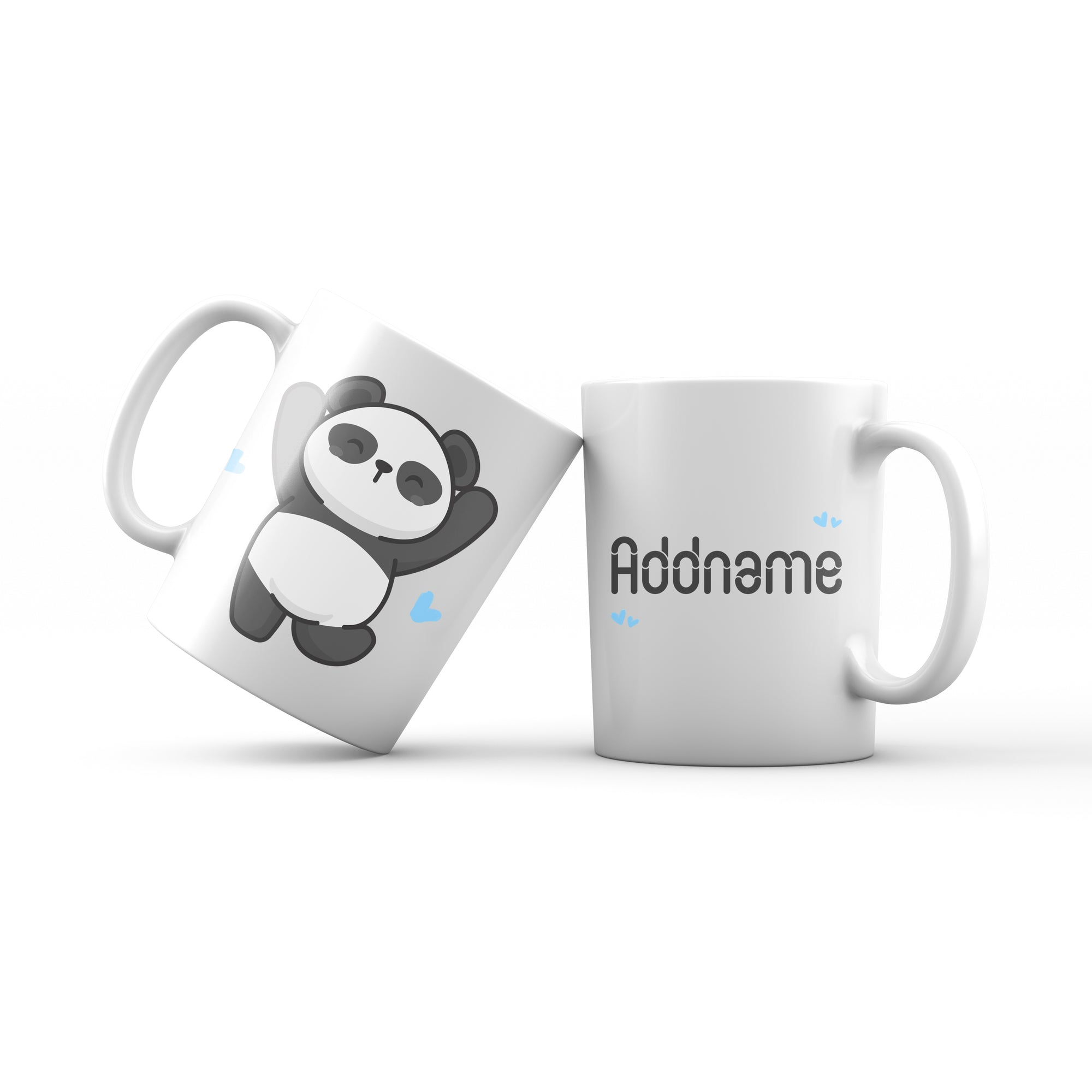 Cute Hand drawn Animals Cute Panda Jumps With Joy Addname Mug