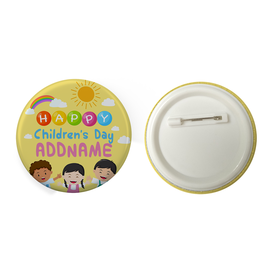 Children's Day Gift Series Happy Children's Day Three Children Addname Button Badge with Back Pin (58mm)
