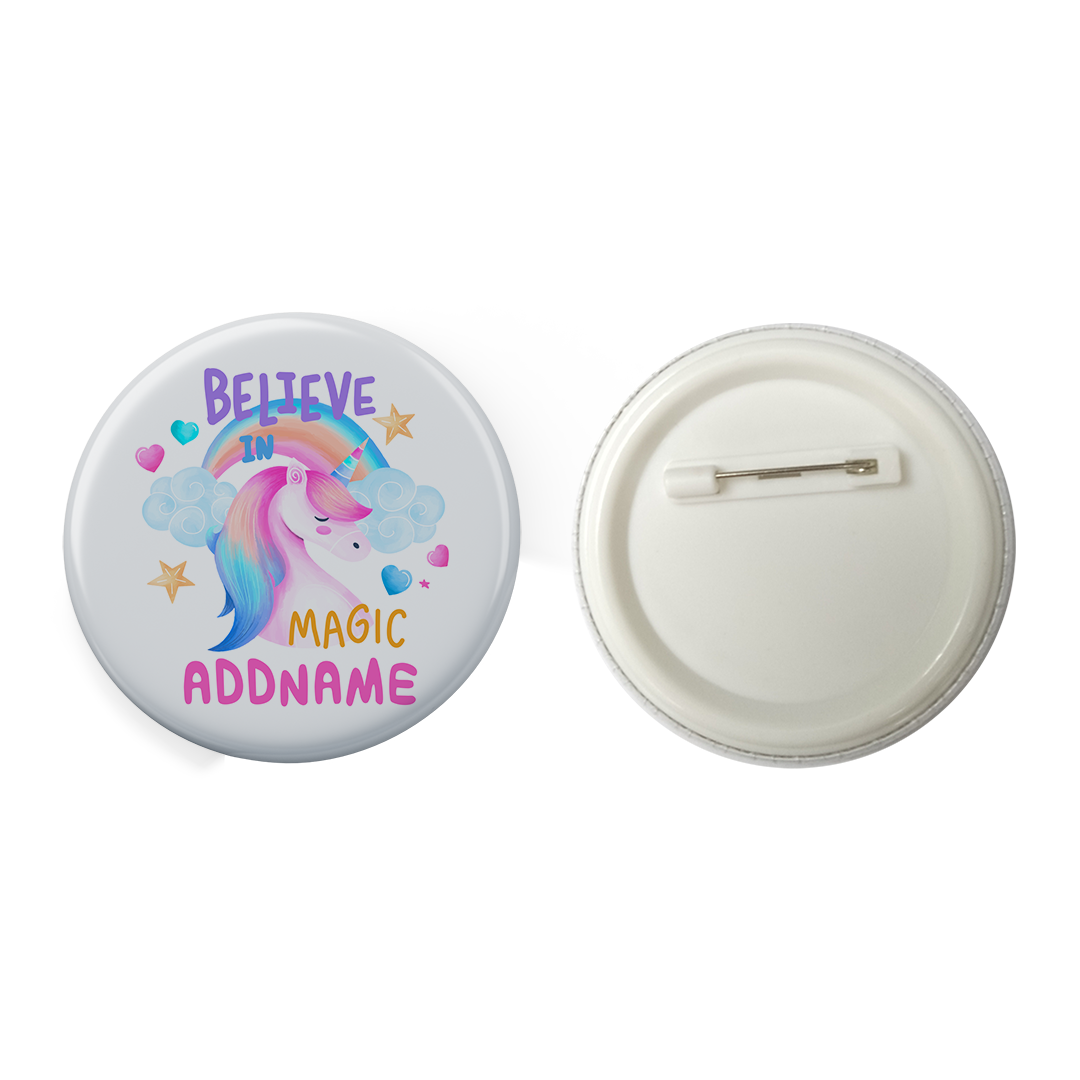 Children's Day Gift Series Believe In Magic Unicorn Addname Button Badge with Back Pin (58mm)