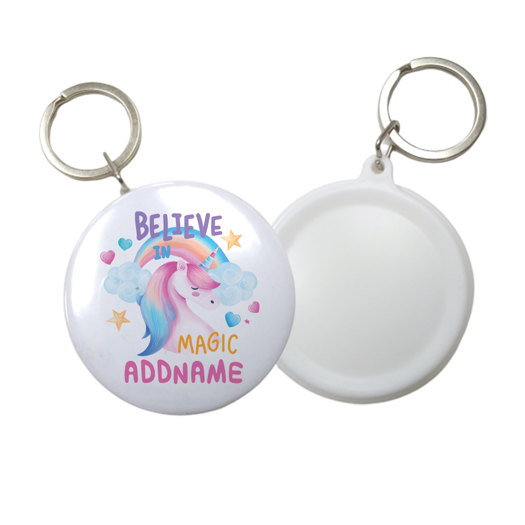 Children's Day Gift Series Believe In Magic Unicorn Addname Button Badge with Key Ring (58mm)