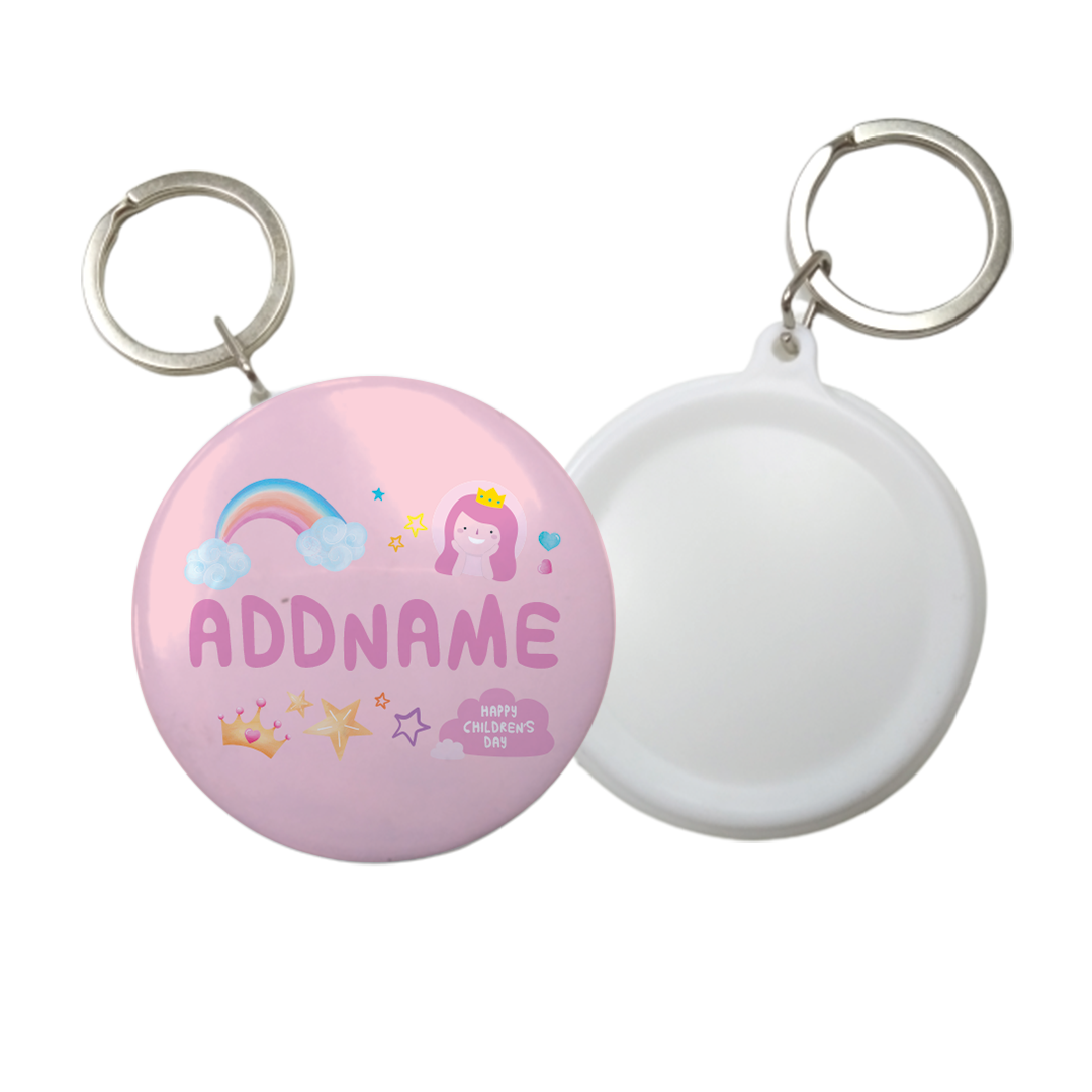 Children's Day Gift Series Cute Pink Girl Princess Rainbow Addname Button Badge with Key Ring (58mm)