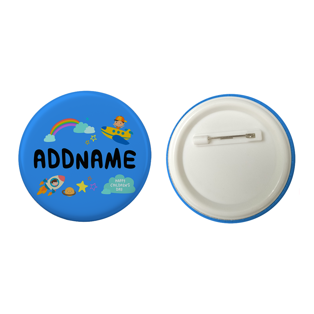 Children's Day Gift Series Adventure Boy Space Rainbow Addname Button Badge with Back Pin (58mm)