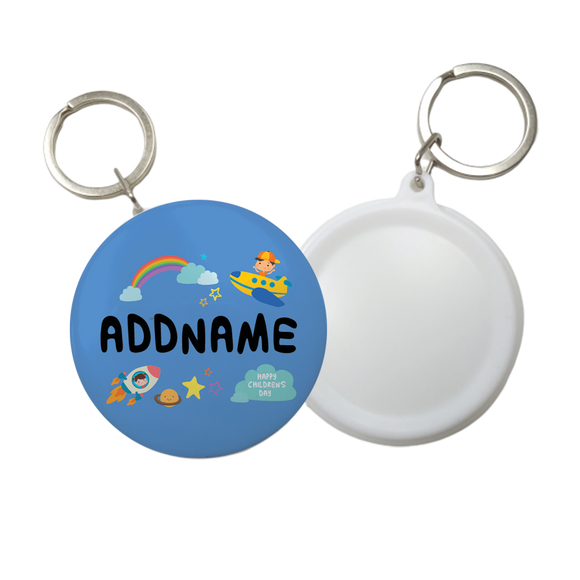 Children's Day Gift Series Adventure Boy Space Rainbow Addname Button Badge with Key Ring (58mm)