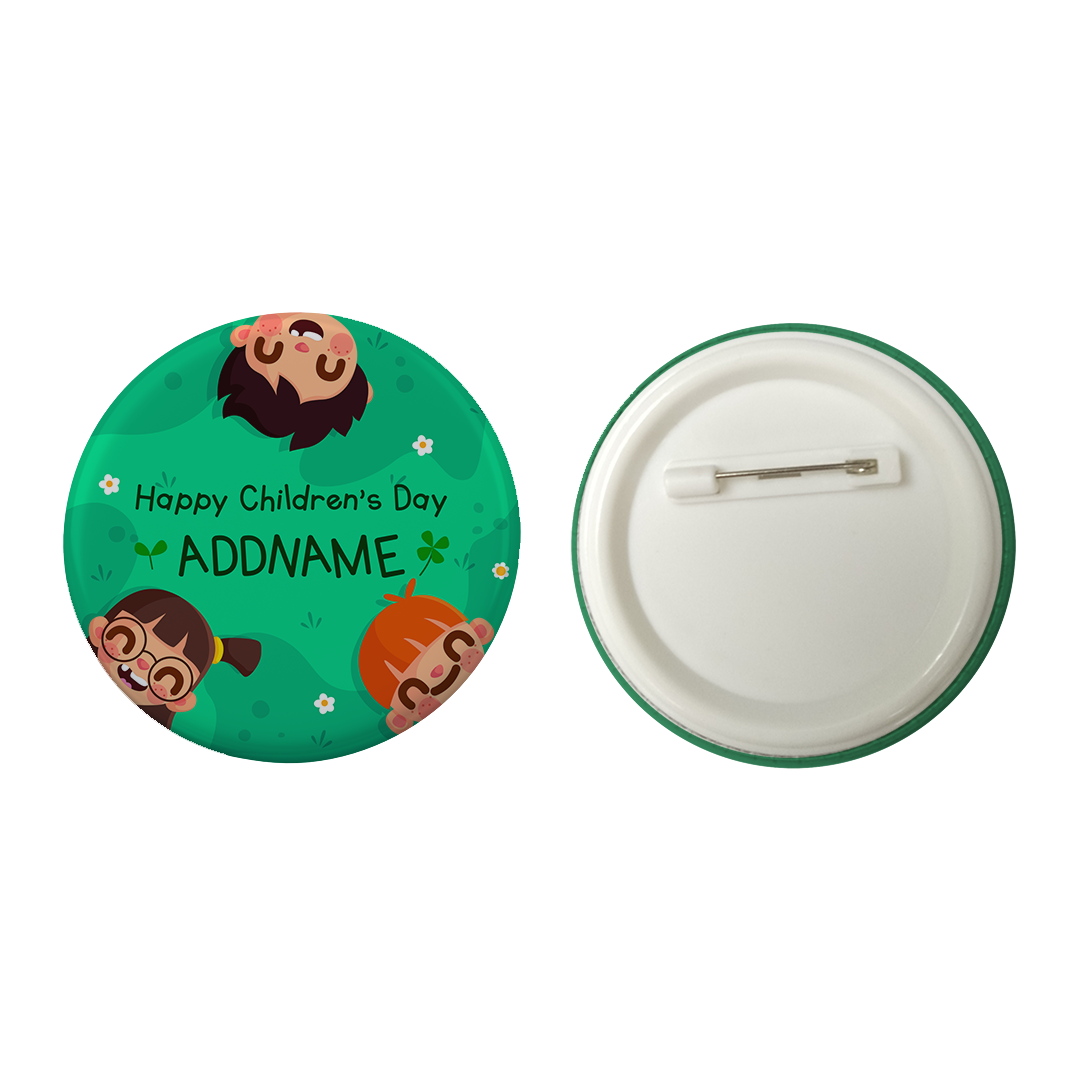 Children's Day Gift Series Happy Children's Day Field Addname Button Badge with Back Pin (58mm)