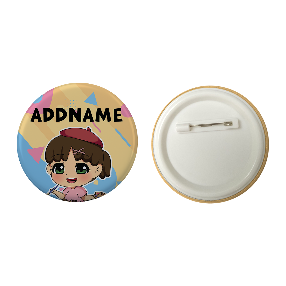 Children's Day Series Little Artist Girl Shape Background Addname Button Badge with Back Pin (58mm)