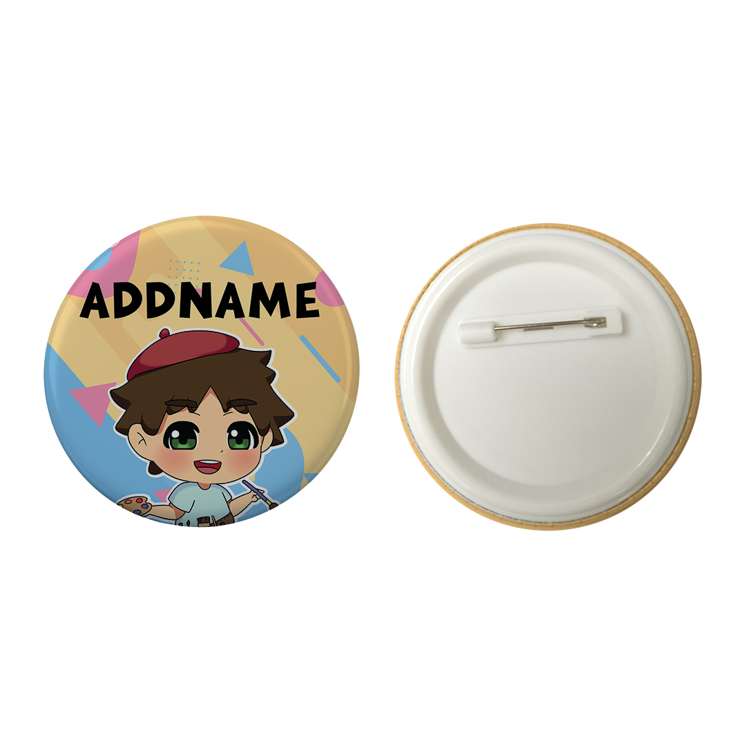 Children's Day Series Little Artist Boy Shape Background Addname Button Badge with Back Pin (58mm)