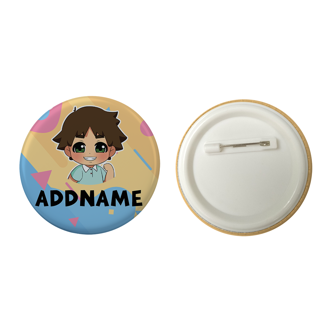Children's Day Series Little Boy Shape Background Addname Button Badge with Back Pin (58mm)