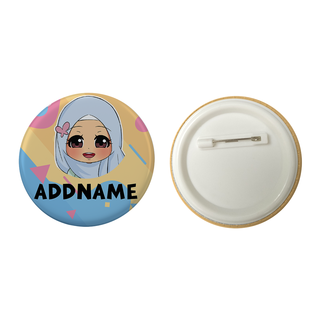 Children's Day Series Little Malay Girl Shape Background Addname Button Badge with Back Pin (58mm)