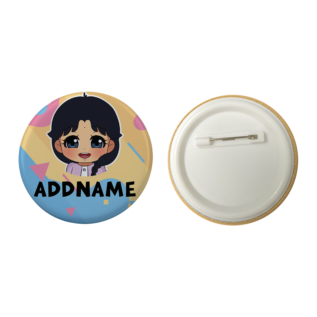 Children's Day Series Little Indian Girl Shape Background Addname Button Badge with Back Pin (58mm)