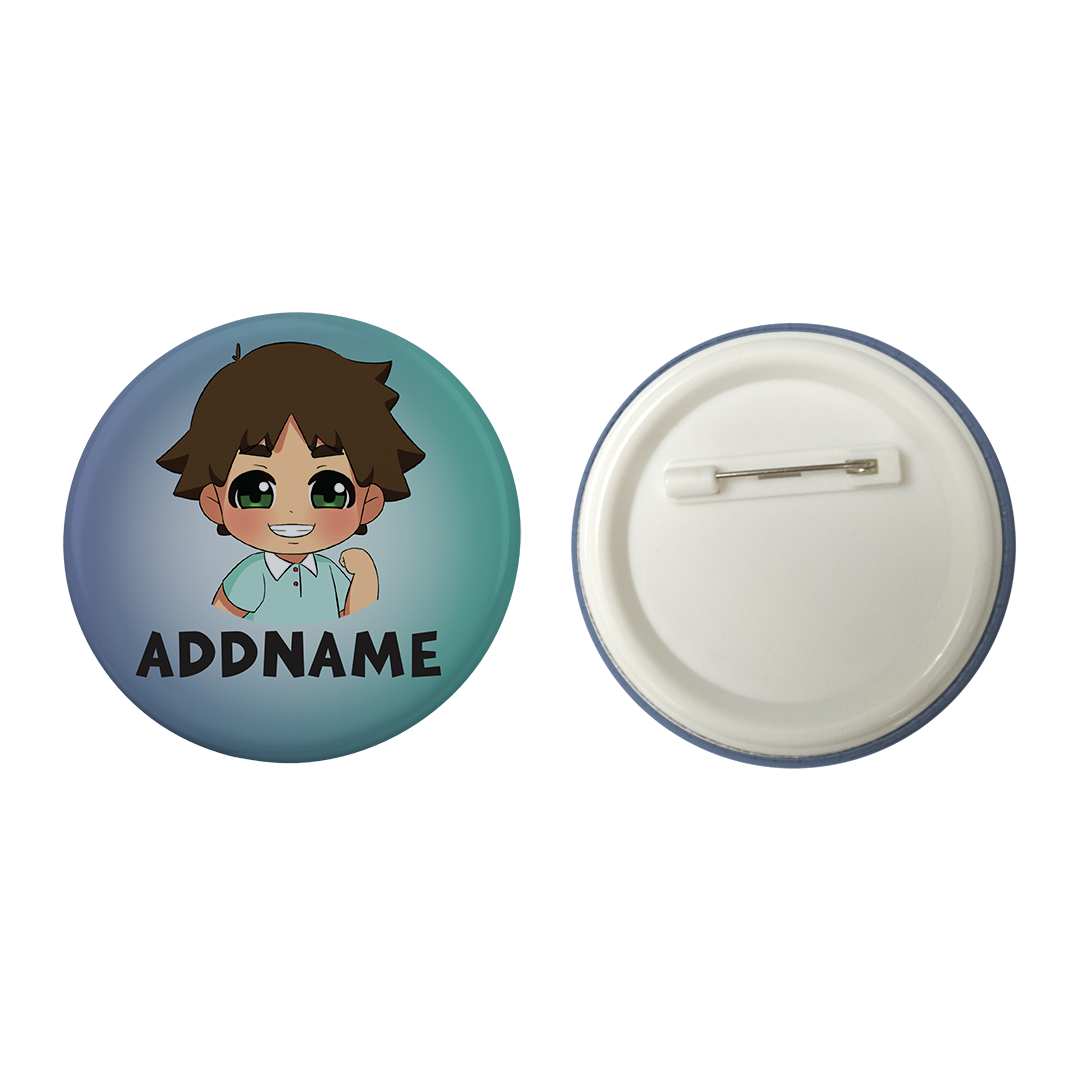 Children's Day Series Little Boy Gradient Background Addname Button Badge with Back Pin (58mm)