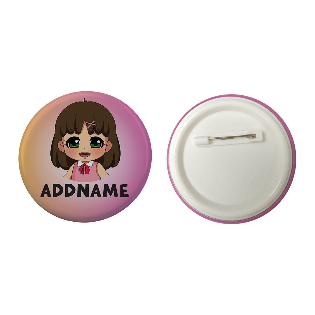 Children's Day Series Little Chinese Girl Gradient Background Addname Button Badge with Back Pin (58mm)