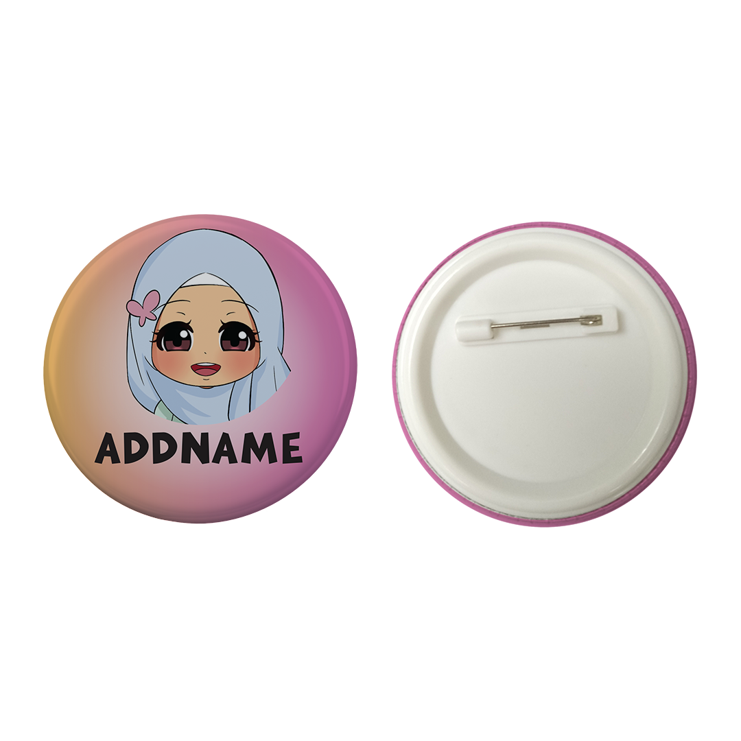 Children's Day Series Little Malay Girl Gradient Background Addname Button Badge with Back Pin (58mm)
