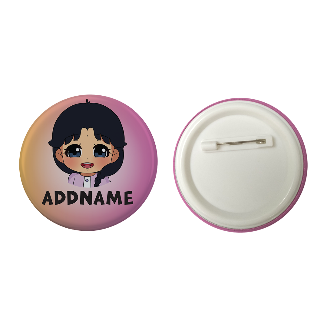 Children's Day Series Little Indian Girl Gradient Background Addname Button Badge with Back Pin (58mm)
