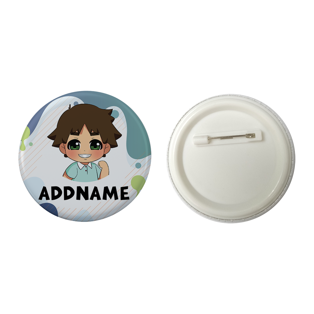 Children's Day Series Little Boy Paint Background Addname Button Badge with Back Pin (58mm)