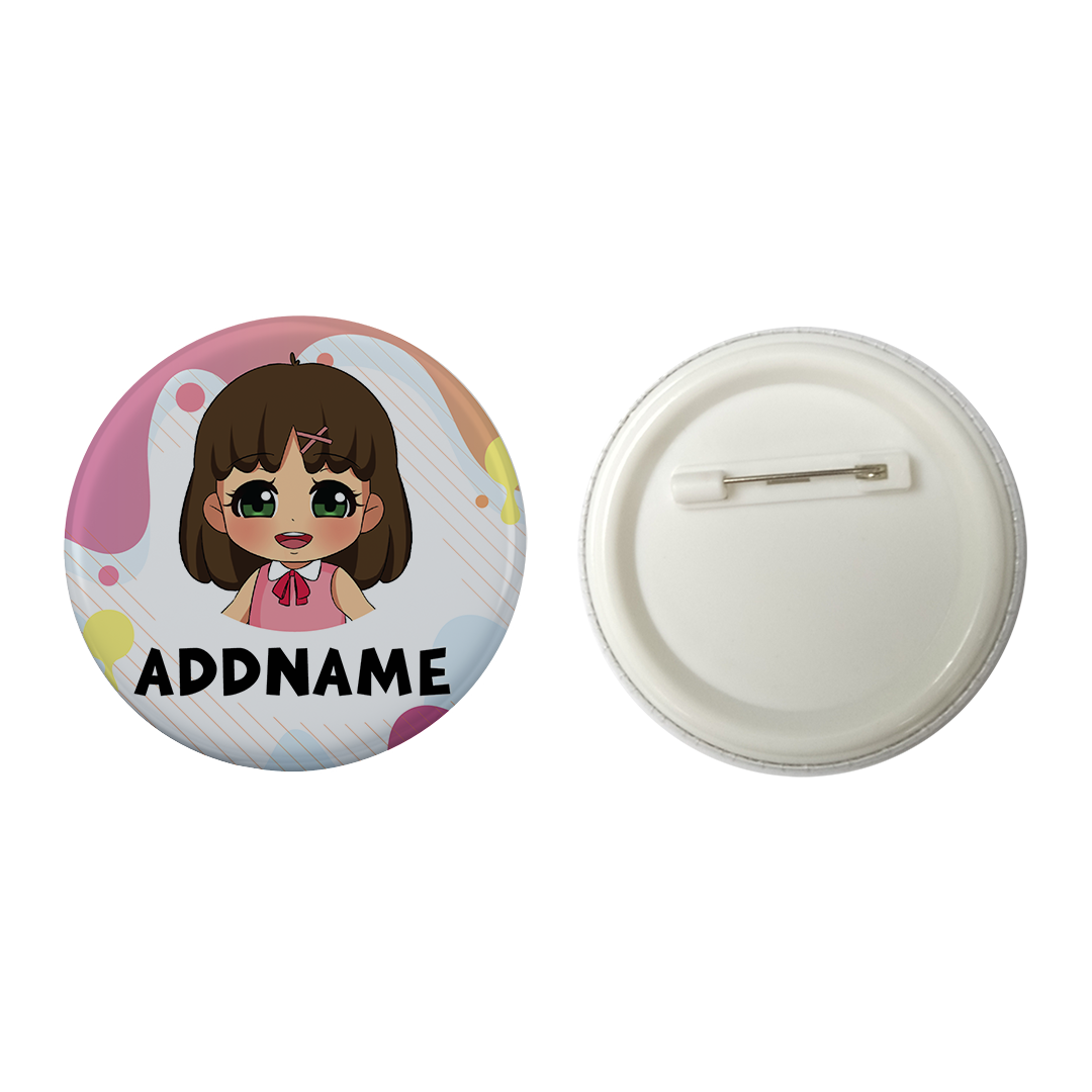 Children's Day Series Little Chinese Girl Paint Background Addname Button Badge with Back Pin (58mm)
